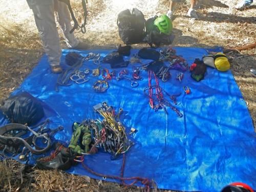 Abseil and rock climbing gear