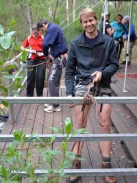 Michael tests the railing